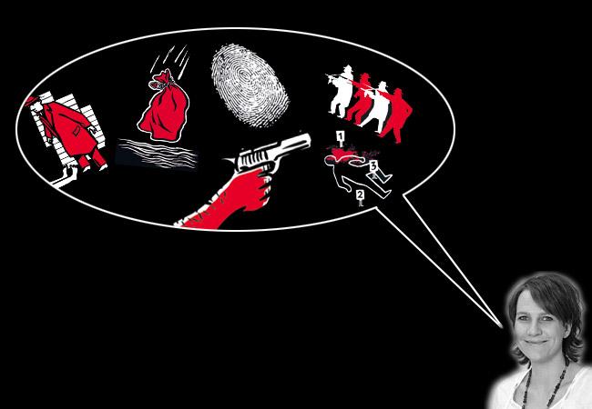 """Tanja Mues ist Produktmanagerin beim moses. Verlag. Im Interview mit zuspieler.de spricht sie über die """"black stories"""". Fotos: moses. Verlag/Montage: Sebastian Wenzel"""