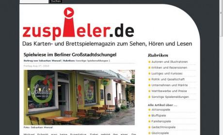 Die alte Startseite von zuspieler.de.
