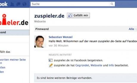 Die neue zuspieler.de-Seite auf Facebook.