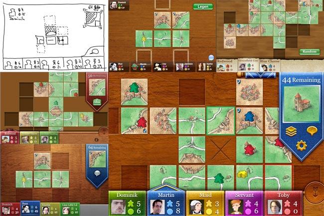 Die Entwicklung von Carcassonne auf einen Blick – von den ersten Scribbles bis hin zum fertigen iPhone-Interface. Foto: TheCodingMonkeys