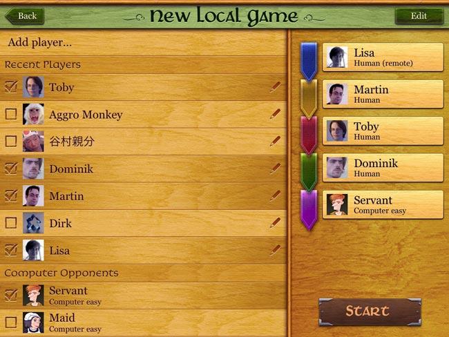 Carcassonne bietet auch einen Multiplayer-Modus über Netzwerk oder Internet. Darin enthalten sind sowohl ein Matchmaking-System als auch eine Freundesliste. Foto: TheCodingMonkeys
