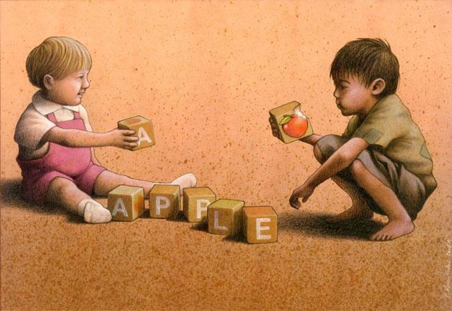 Apple (Apfel). Illustration: Paweł Kuczyński