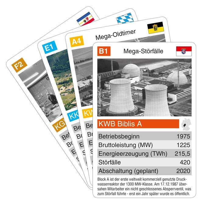 Wo stürzten Kampfjets in der Nähe von Atomreaktoren ab? Welches AKW ist das einzige Deutschlands, das Bahnstrom generiert? Das AKW-Quartett verrät die Antworten. Foto: akw-quartett.de
