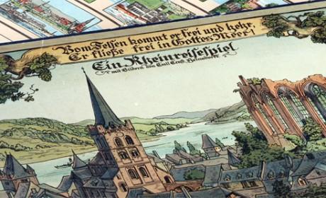"""""""Ein Rheinreisespiel"""". Verlag Jos. Scholz, Mainz, 1924. Sammlung Scholtz, Mainz. Foto: LVR-Industriemuseum, Jürgen Hoffmann"""